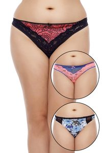 Zivame Ultra Soft Black And Blue Print Thong Pack of 3 Assorted