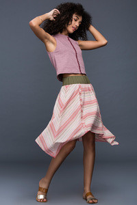 Zivame Pastel Stripes skirt Pink N Multicolour