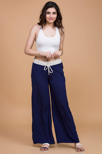 Zivame On The Go Flared Cotton Pants Navy