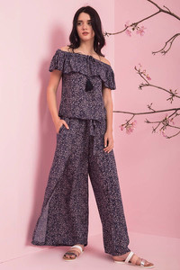 Zivame Flare Fit Causal Pants- Navy