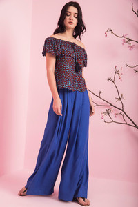 Zivame On The Go Pleated Flared Pants Royal Blue