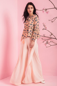 Zivame On The Go Pleated Flared Pants- Peach