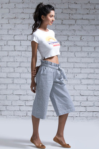 Zivame Culottes Pants Blue N Off White