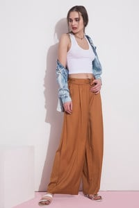 Zivame Flare Fit Casaul Pant- Brown