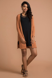 Zivame Knee Length Knitted Shrug- Carmel
