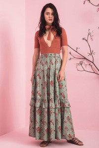 Zivame Ever Rose Tiered Skirt- Green