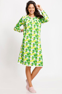 Zivame Cotton CoZzzies Lay-Leaf Nightdress - Lucite Green