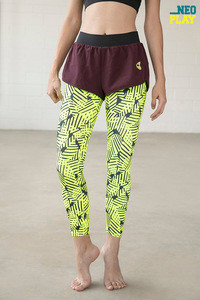Zelocity Neo Play Anti Chafe Legging With Shorts Neon N Print