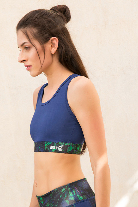 MTV x Zelocity Sports Bra with Removable Padding Blue N Print