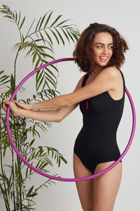 Zivame Super Smooth Scooped Neck Swimsuit - Black Pink