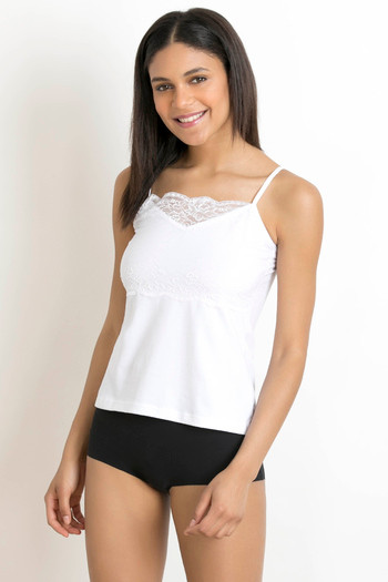 bcd4e35be6 Buy Zivame High Neck Lacy Camisole- White at Rs.321 online ...