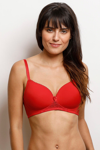 Buy Zivame Lightly Padded Wirefree T-Shirt Bra- Red at Rs.627 online ... 5c2733fac