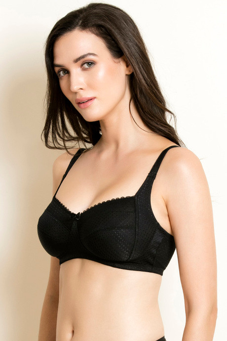 Zivame Jacquard Two Sectioned No Sag Bra Black