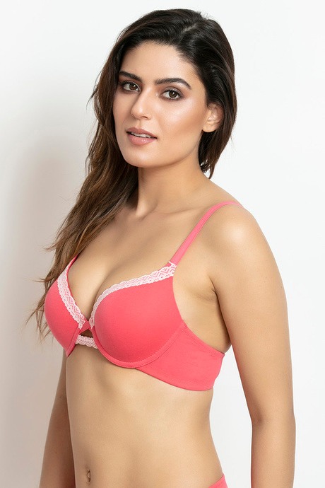 Zivame Moderate Lift Push Up Bra Coral