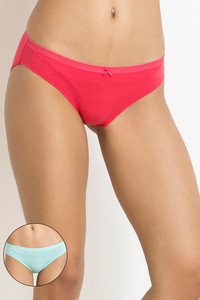 Zivame Low Rise Bikini Brief Pack of 2 Aqua Blue N Dark Pink