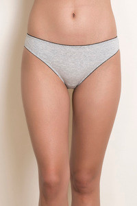 Zivame Low Rise Bikini Brief Grey Melange
