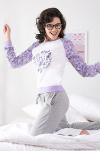 Zivame Space Vibes Printed Sweater- Lavender