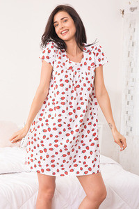 Zivame Tropical Fizz Sleep Dress White and Print
