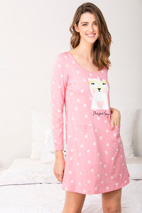 Zivame Three Musketeers Short Nighty Pink N Print