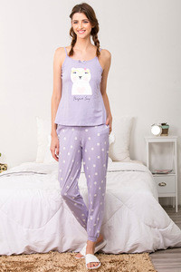 Zivame Three Musketeers Top N Pyjama Set Lavender N Print