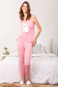 Zivame Three Musketeers Top N Pyjama Set Pink N Print