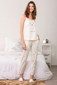 Zivame Three Musketeers Top N Pyjama Set White N Print