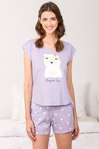 Zivame Three Musketeers Top N Shorts Set Lavender N Print