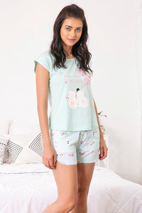Zivame Three Musketeers Top N Shorts Set Blue N Print