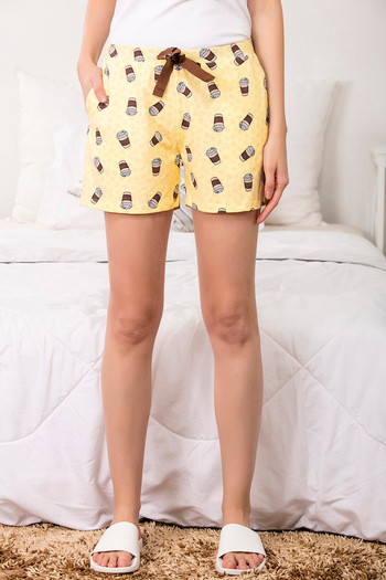 a687d0b502 Buy Zivame Coffee Times Sleep Shorts - Yellow N Print at Rs.347 online