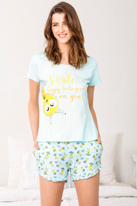 Zivame Love Bugs Top N Shorts Set Blue N Print