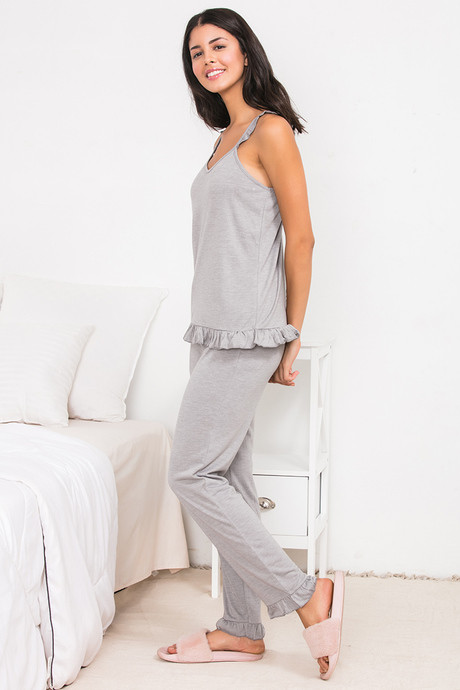 Zivame Spring Love Top N Pyjama Set Grey