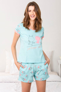 Zivame Crazy Farm Top N Shorts Set Blue N Print