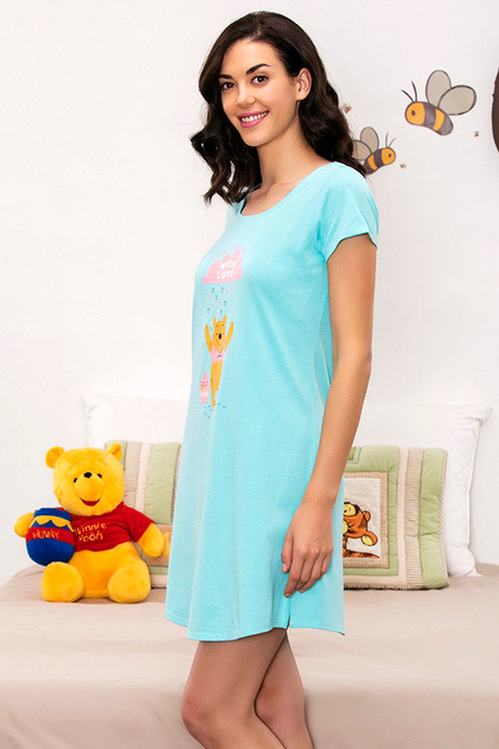 Zivame x Disney Winnie The Pooh Sleep Dress Blue N Print
