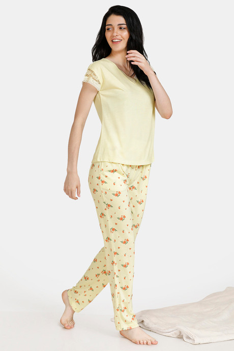 Zivame Spring Love Poly Viscose Top N Pyjama Set Yellow