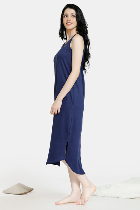 Zivame Stripes And Fun Cotton Mid Length Night Dress Navy