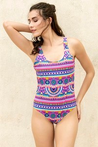 Zivame Scooped Neck Padded Swimsuit Pink N Print