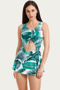 Zivame Padded Swim Dress Green N Print