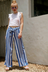 Zephyr Stripe Printed Flared Pants Navy N White