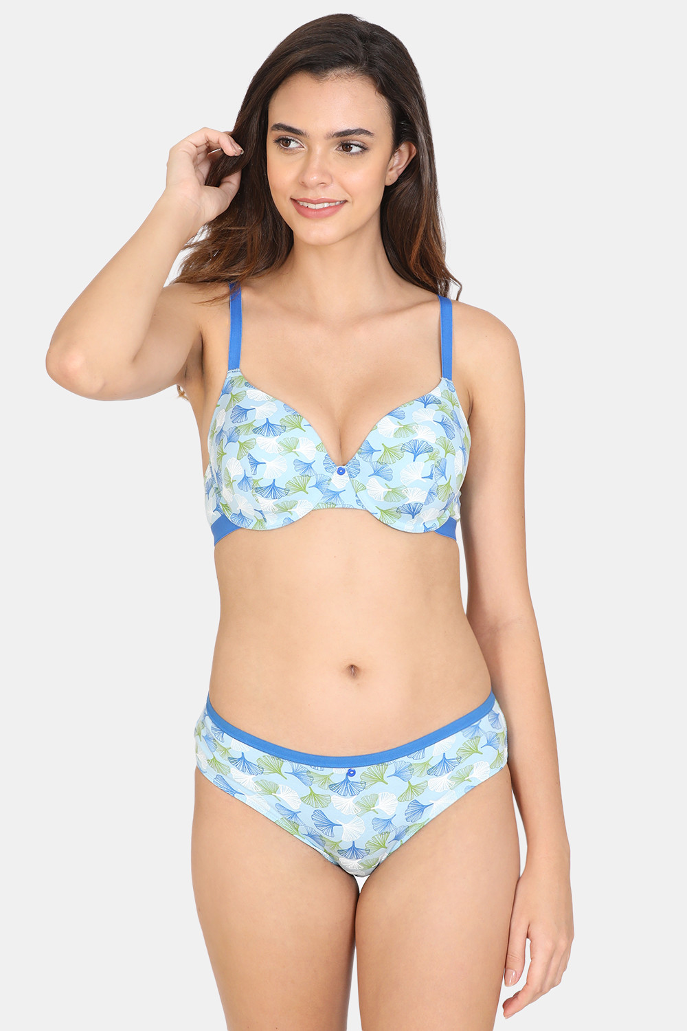 Buy Zivame Asymmetric Print Padded Wired 3/4th Coverage T-Shirt Bra With Low Rise Panty - Blue