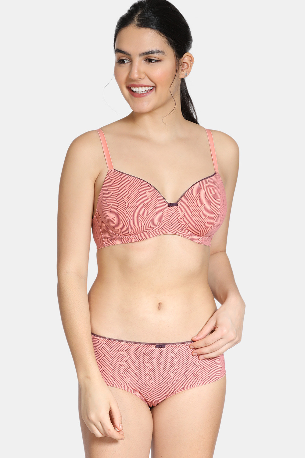 Buy Zivame Knotty Padded Non-Wired 3/4th Coverage T-Shirt Bra With Low Rise Hipster Panty - Lobster Bisque