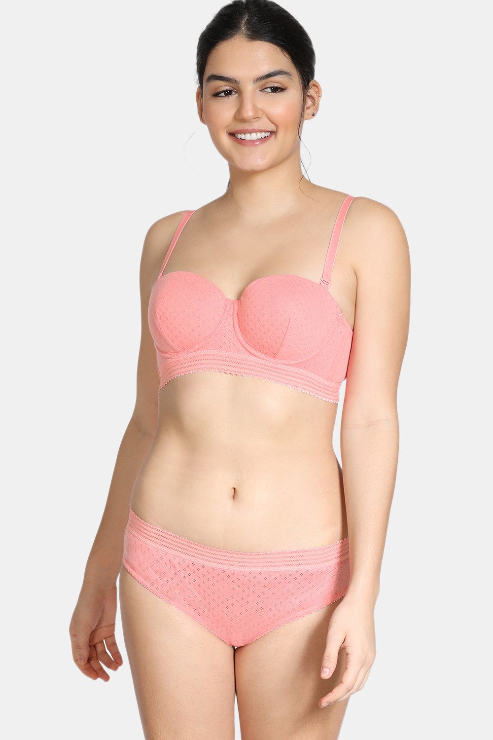Buy Zivame Pointelle Padded Regular Wired 3/4th Coverage Strapless Bra With Medium Rise Hipster Panty - Salmon Rose
