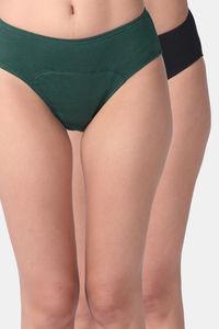 Buy Adira Pack Of 2 Period Hipsters-Green Black