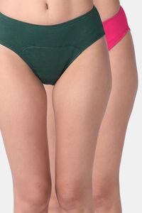 Buy Adira Pack Of 2 Period Hipsters-Green Dark Pink