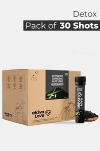 Buy Akiva Activated Charcoal Health Shots with Aloe Vera for Detox and Digestion (40 ML Each - Pack of 30) - Grey
