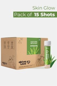 Buy Akiva Aloe Vera Health Shots with Honey For Skin Glow Rich In Antioxidants & Vitamins (40 ML Each - Pack of 15)- Transparent