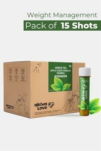 Buy Akiva Green Tea Health Shots with Apple Cider Vinegar for Weight Management (40 ML Each - Pack of 15) - Brown