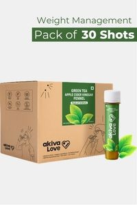 Buy Akiva Green Tea Health Shots with Apple Cider Vinegar for Weight Management (40 ML Each - Pack of 30) - Brown