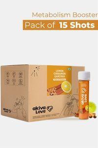 Buy Akiva Weight Management Health Shots with Lemon Honey And Cinnamon ( 40 ML Each - Pack Of 15)- Orange