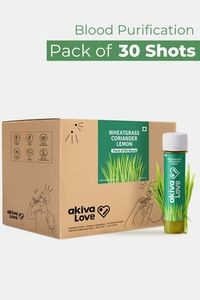 Buy Akiva Wheatgrass Health Shots with Lemon And Coriander For Daily Detox to Feel Fresh and Improving Body Functions ( 40 ML Each - Pack of 30) - Green