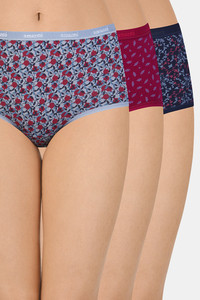 Buy Amante Printed High Rise Full Brief (Pack Of 3)